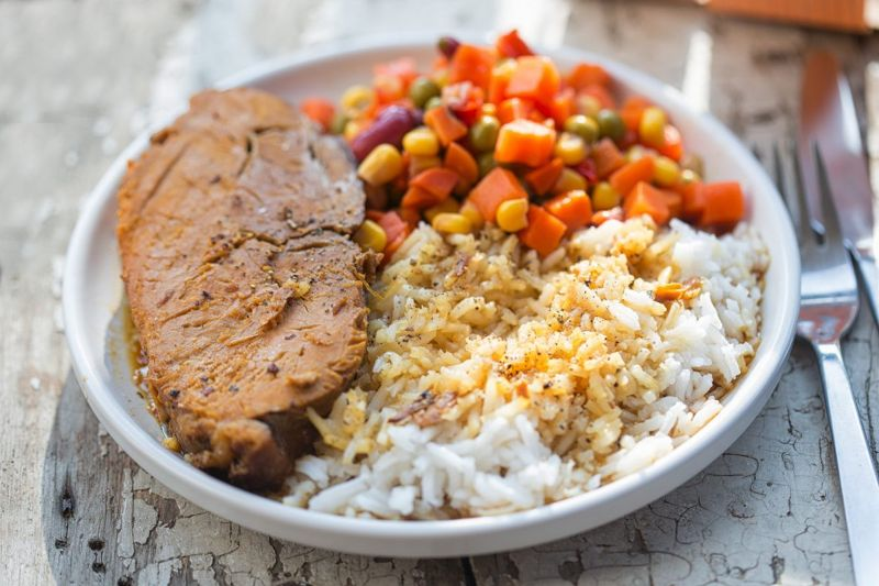 pork chop with white rice