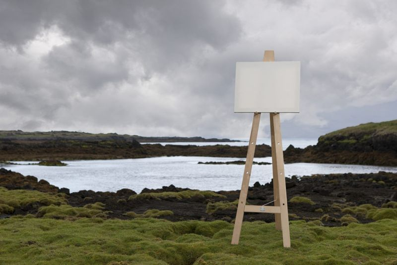 Canvas and easel