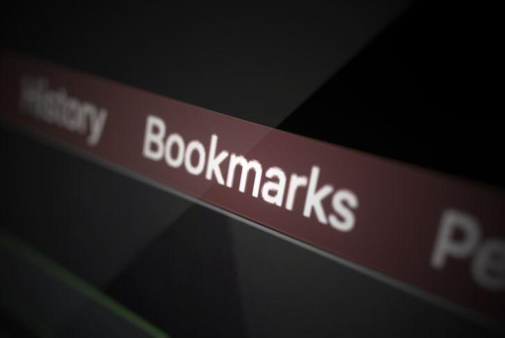 Bookmarks menu on the display 3d illustration