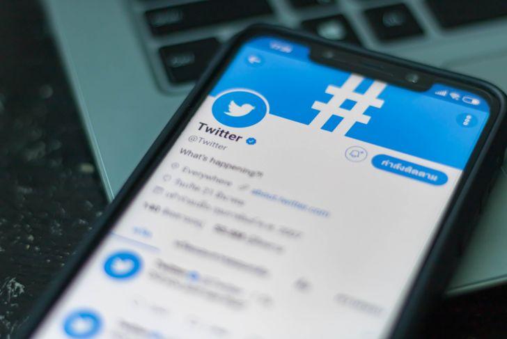 Smartphone open Twitter application,Twitter is an online social networking.