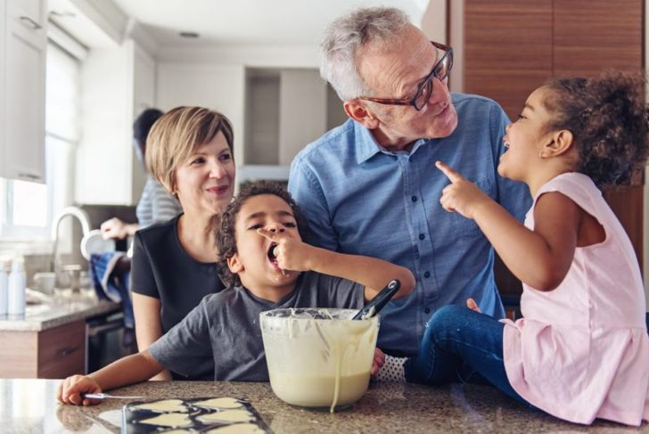 cooking, grandparents, children, baking