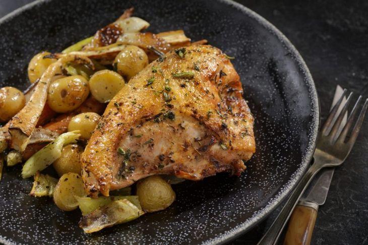 crispy chicken breast skin on