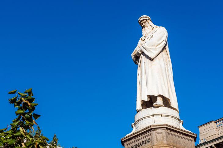 Monument to Leonardo Da Vinci in Milan, Italy