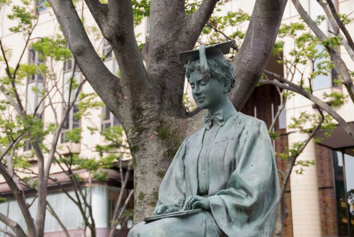 Statue of Helen Keller in Chiba central park, japan. She was the first deaf-blind person to earn a Bachelor of Arts.