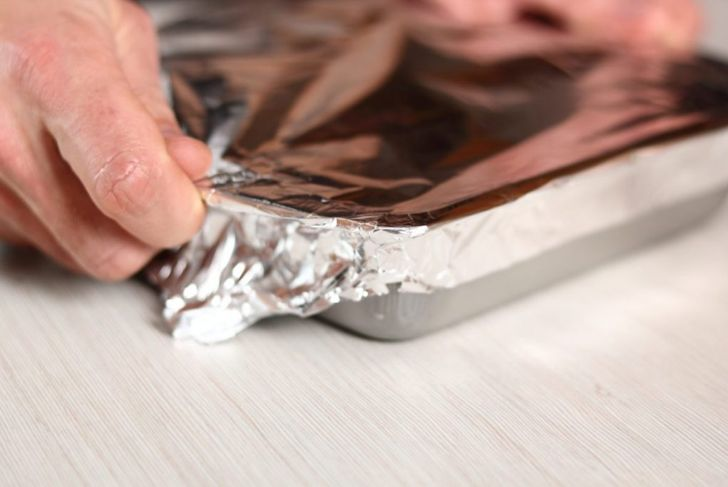 foil wrapped baking sheet