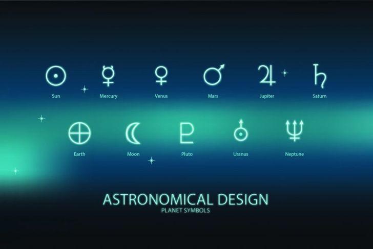 Saturn's astronomical symbol reflects its mythological namesake.