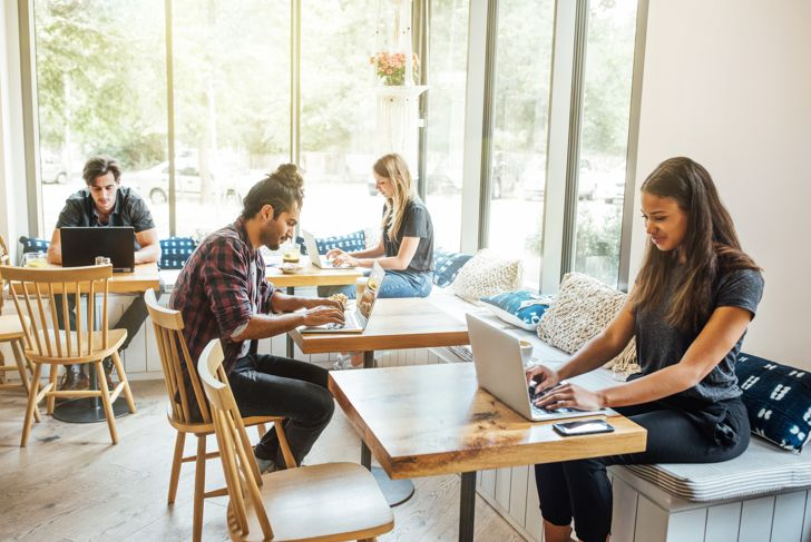 Millennials at wifi cafe