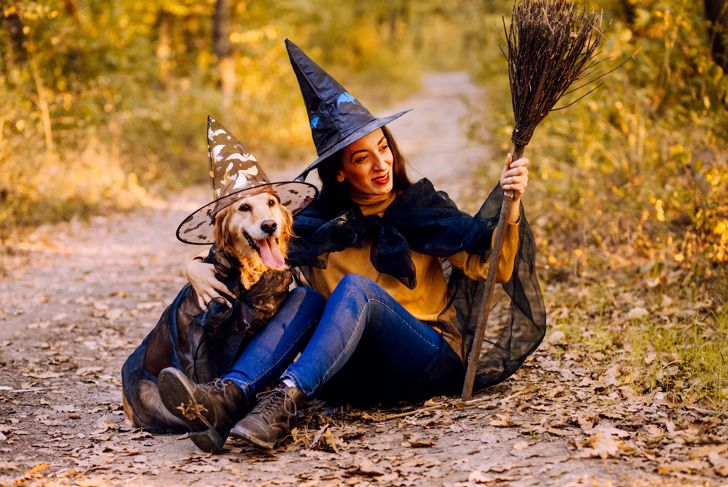 Woman And Dog Costumed for Halloween