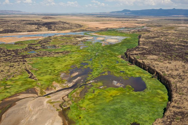 Aerial view of Suguta River in the Great Rift Valley. Kenya