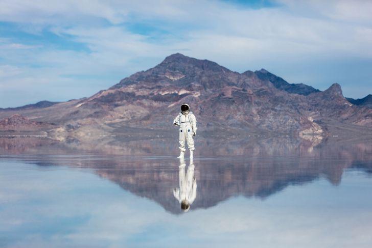 Astronaut on a salt flat
