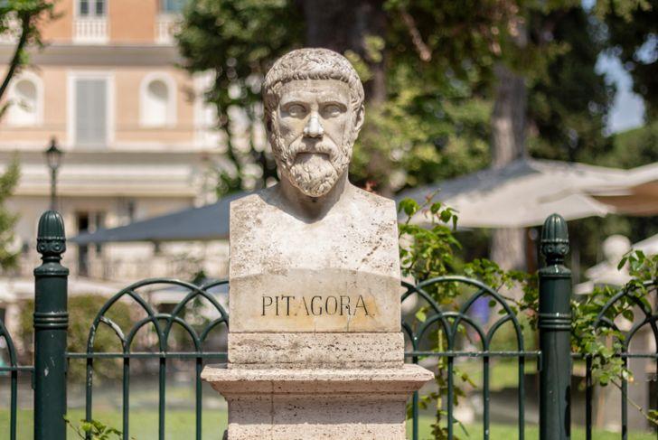 Statue of Pythagoras ( Pitagora ) in Rome, Italy