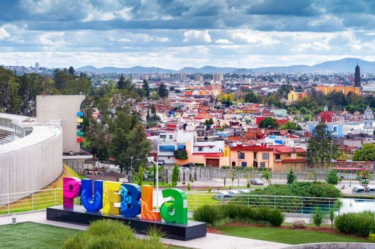 Aerial view of downtown Puebla, Mexico