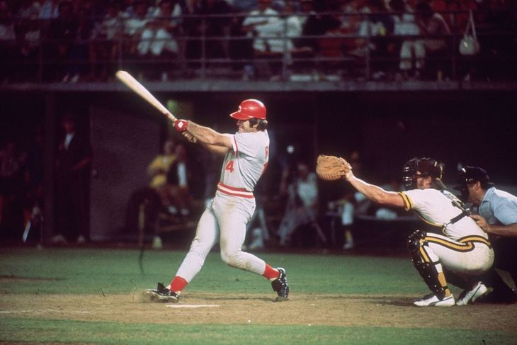 Cincinnati Reds switch hitter Pete Rose, at bat, takes a swing during a game.