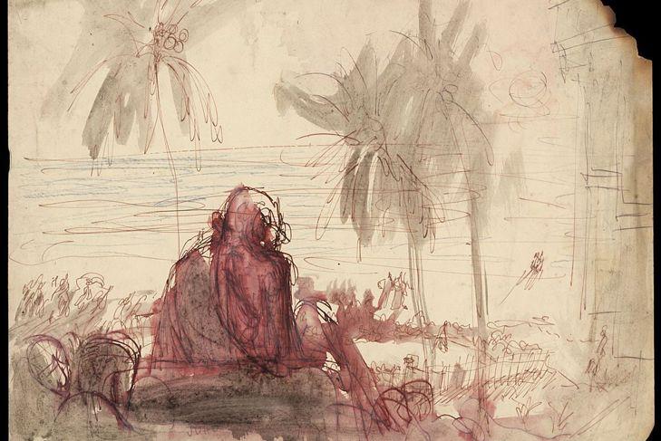 Indian spiritual and political leader Mahatma Gandhi . A sketch by Polish-born British expressionist Feliks Topolski.