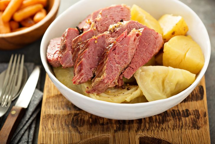 Corned beef and cabbage, Irish traditional dinner -