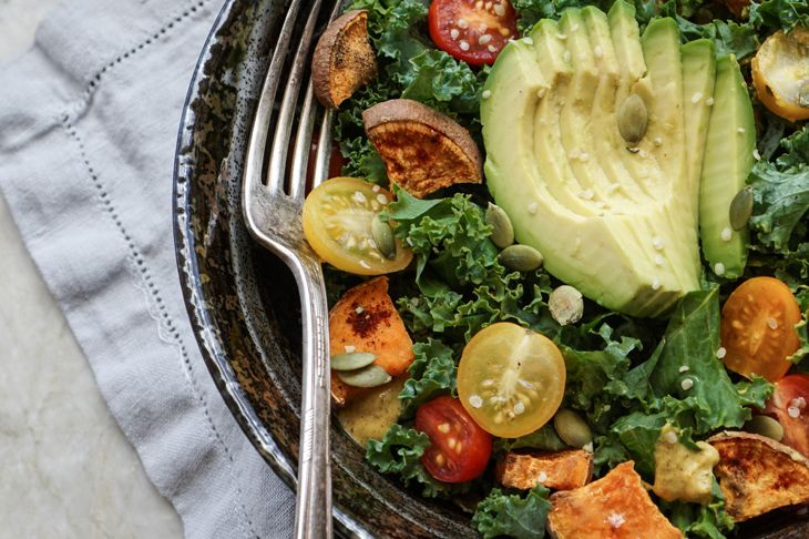 kale salad with a warm dressing