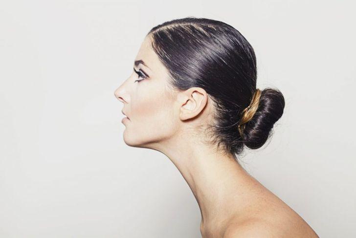 shoulder length hair low bun