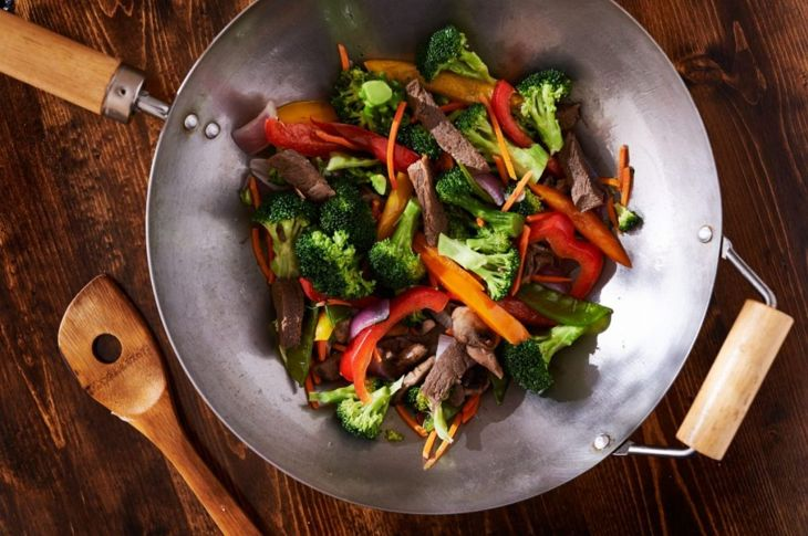 wok stir fry overhead