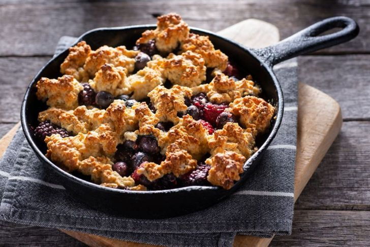 Homemade Berry Cobbler in a Cast Iron Skillet