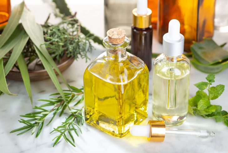 Herbal essential oil. Rosemary oil, eucalyptus oil, aloe vera, pepermint and fir oil for aromatherapy, wellness, skin care, herbal remedies