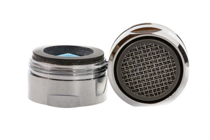 Two Isolated faucet aerators for saving water.