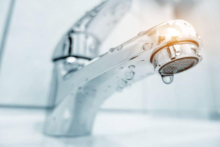 Water tap in bathroom