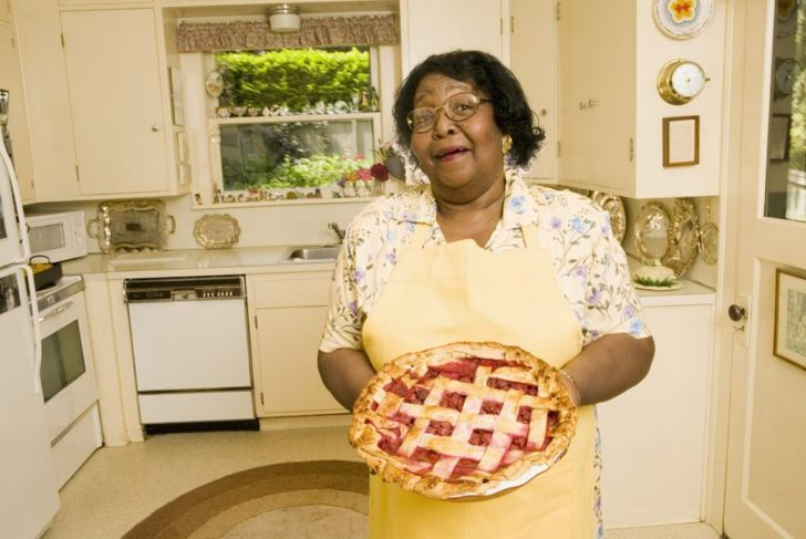 Proud baker with pie