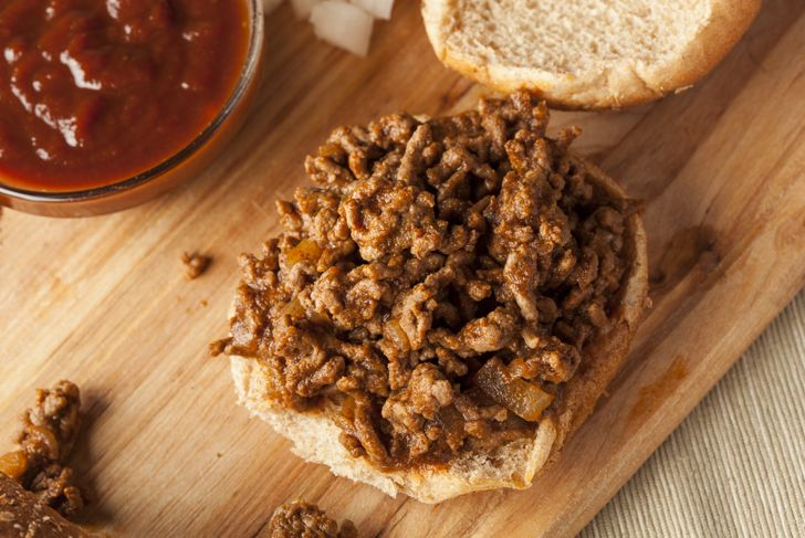 Sloppy Barbecue Beef Sandwich on a whole wheat bun