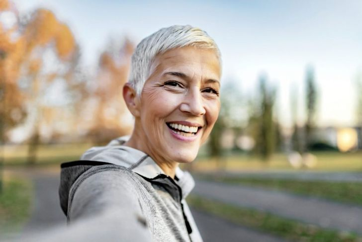 Woman with white hair
