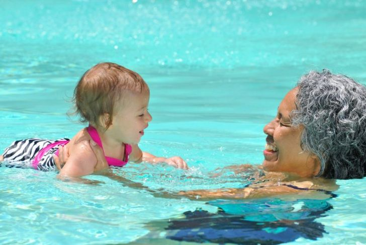 swim, water, family, grandchildren