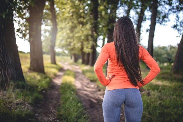 A woman wearing tight leggings