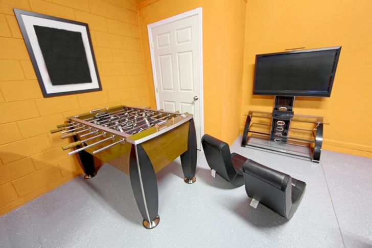 Transform part of your garage into a recreation area.