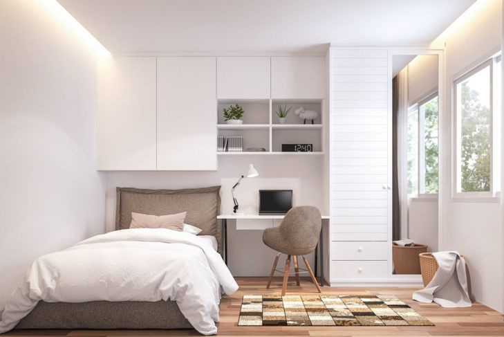 Wall storage units are a smart use of limited space.