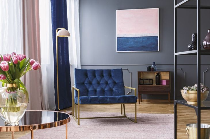 Classic Blue pairs elegantly with dusty pink and metal finish accents.