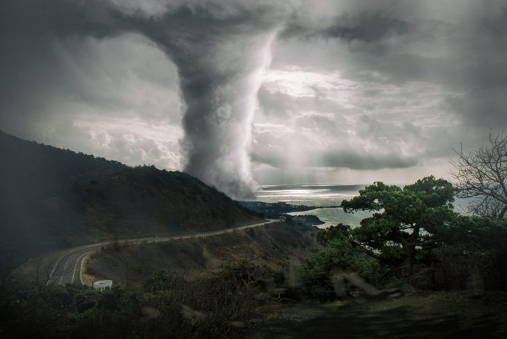 disastrous tornado storm clouds disaster coming