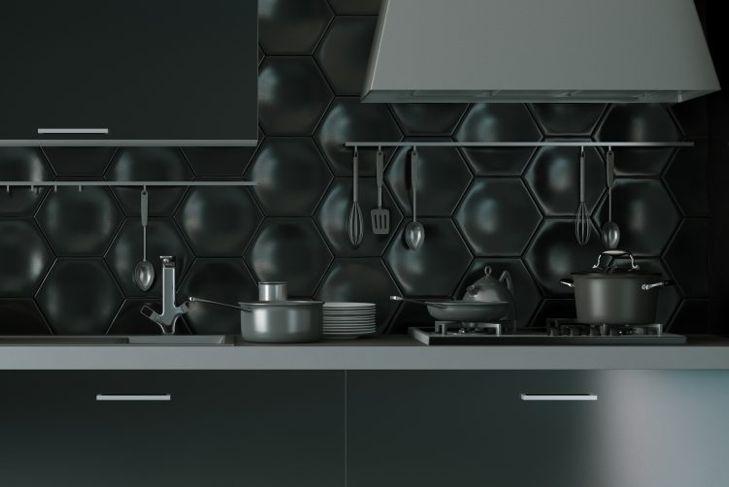 Black 3D kitchen tiles