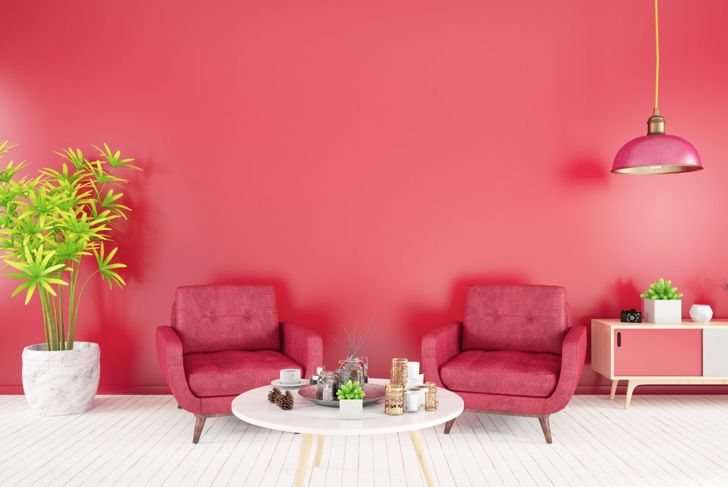 Raspberry red living room