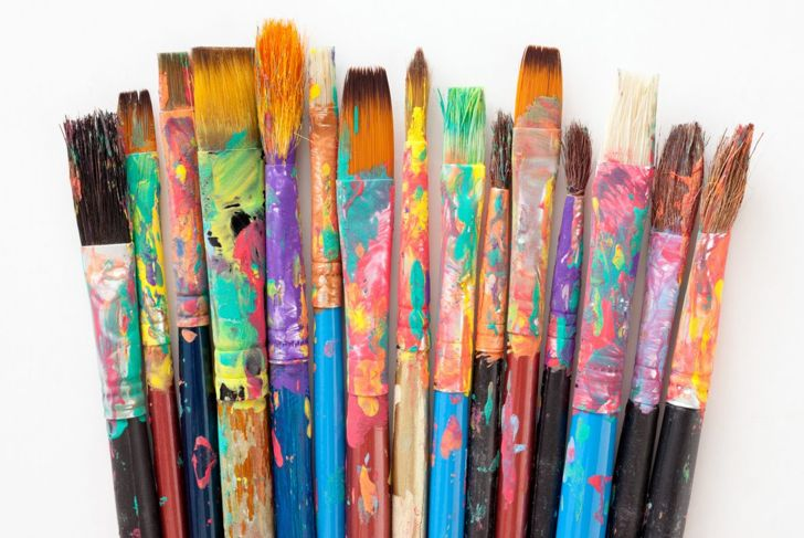 round wide flat paint brushes