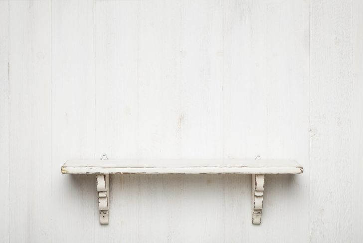 Rustic shelves painted shelf with carved wooden supports