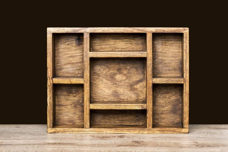 Rustic shelves box with compartments compartment shelves