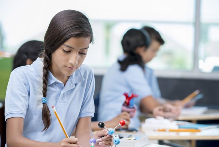 Young girl in school with low braid