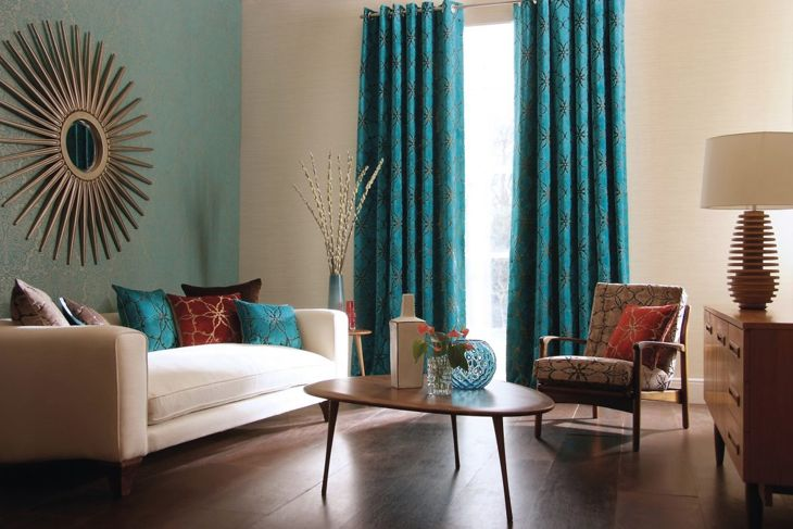 Luxury blue cushions and curtains