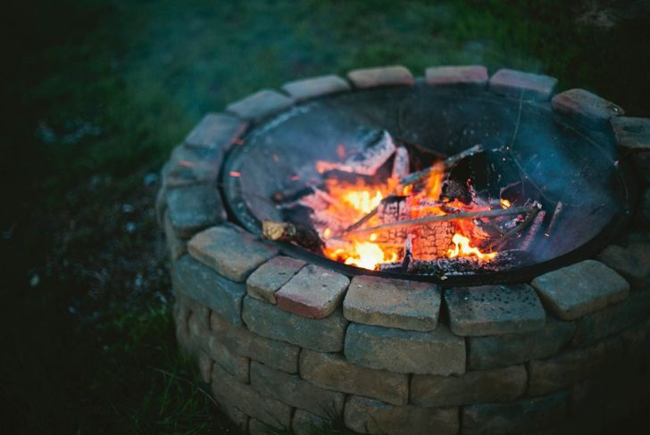 burning sage firepit