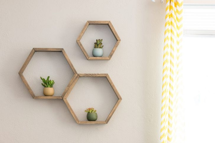 Rustic shelves geometric shelf