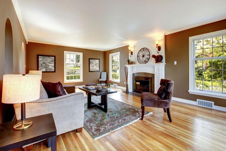 brown painted living room