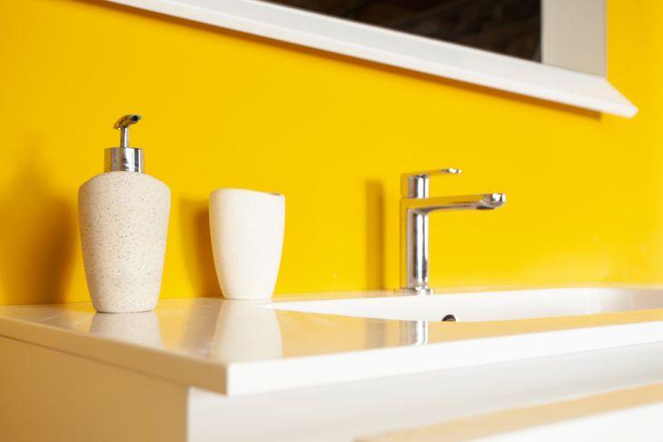 bathroom painted yellow