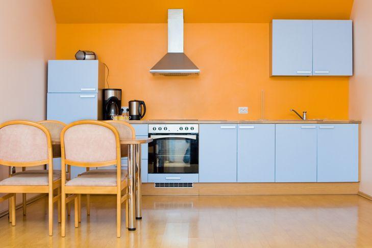 warm orange painted kitchen