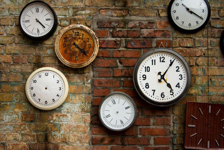 Clock vintage on brick wall