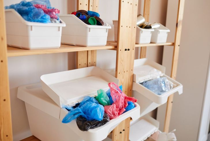 A variety of large and small bins and baskets can deal with most clutter.