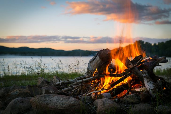 campfire, lake, stones